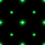 Seamless pattern of luminous stars. Illusion of light flashes. Green flames on a black background. Abstract background. Vector illustration Royalty Free Stock Photography