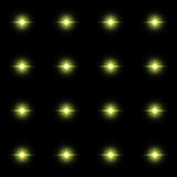 Seamless pattern of luminous stars. Illusion of light flashes. Green flames on a black background. Abstract background. Vector illustration Royalty Free Stock Photos