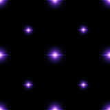 Seamless pattern of luminous stars. Illusion of light flashes. Purple flames on a black background. Abstract background. Vector illustration Royalty Free Stock Image