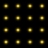 Seamless pattern of luminous stars. Illusion of light flashes. Yellow flames. on black background. Seamless pattern of luminous stars. Illusion of light flashes Stock Photos