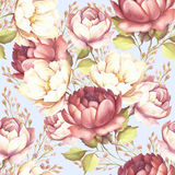 Seamless pattern with lush roses. Hand draw watercolor illustration. Royalty Free Stock Photography