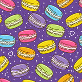 Seamless pattern with macarons Royalty Free Stock Photo