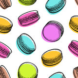 Seamless pattern with macaroons. Pastry sweets collection. Hand drawn vector illustration Stock Photography