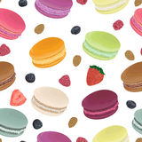 Seamless pattern with macaroons, strawberry, raspberry, blueberry and almond. French pastries in watercolor style. Isolated elements. Hand drawn vector Stock Image