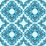 Seamless pattern made from abstract blue element. On white background Stock Photo