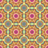 Seamless pattern made from abstract mandalas on orange ba. Seamless pattern made from abstract circle mandalas on orange background Stock Photo