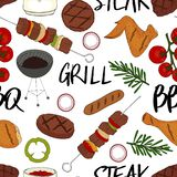 Seamless pattern made from BBQ elements. Barbecue objects. Hand drawn endless picture. Vector illustration royalty free illustration