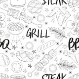 Seamless pattern made from BBQ elements. Barbecue objects. White and black. Hand drawn endless picture. Vector illustration stock illustration