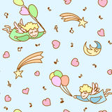 Seamless pattern made from cartoon angels. With ballons, hearts and notes Stock Photos