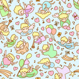 Seamless pattern made from cartoon girls, angels, cupids, hearts Stock Photos