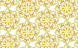 Seamless pattern made with circular floral ornamental shapes in warm colors. Vector illustration.  stock illustration
