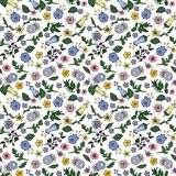 Seamless pattern made of contour flowers in doodling style on transparent background. royalty free illustration