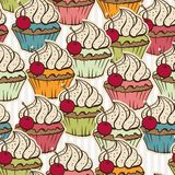 Seamless pattern made of cupcakes. Vintage Royalty Free Stock Image