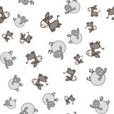 Seamless pattern made from donkeys and lambs in cartoon style royalty free illustration