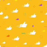 Seamless pattern made of flat thumbs up symbols on orange background Royalty Free Stock Photo