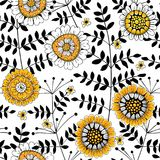 Floral doodle pattern Royalty Free Stock Images