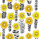 Floral doodle pattern Stock Photography
