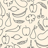 Seamless pattern made of fruits and vegetables illustra Royalty Free Stock Photography