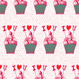 Seamless pattern made of hand drawn cupcakes. Royalty Free Stock Images