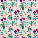 Seamless pattern made by hand drawn paint strokes. stock image