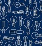Seamless pattern made of light bulbs Stock Photos