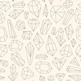 Seamless pattern made of line art crystals Stock Photos