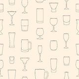 Seamless pattern made of linear drinkware Royalty Free Stock Photos