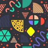 Seamless Pattern made in Memphis Style. Seamless Background made in Memphis Style with Bright Geometric Shapes and Patterns. Trendy Fashion 80s-90s. Perfect for stock illustration