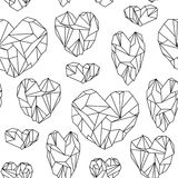 Seamless pattern made of mineral heart-shaped crystals Stock Photography