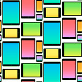 Seamless Pattern made with Mobile Devices colorful Royalty Free Stock Photography