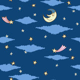 Seamless pattern made from night sky. With stars, clouds and sleeping moon Stock Photos