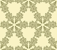 Seamless pattern made from oak leaves. On cream background Royalty Free Stock Photo
