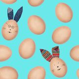 Seamless pattern made of photos of hen's eggs with eggshell texture. Some eggs have Easter bunny funny faces and textile ears. stock images