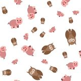 Seamless pattern made of pig and owls stock illustration