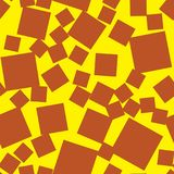 Seamless Pattern Made Of Squares, brown on yellow color Royalty Free Stock Photos