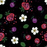 Seamless pattern made of strawberries and flowewrs in doodling style on the black background. vector illustration