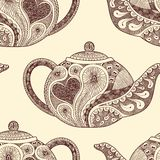 Seamless pattern made of teapots Stock Photos