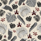Seamless Pattern made from tropical Palm Leaves Stock Photos