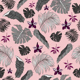 Seamless Pattern made from tropical Palm Leaves Stock Images