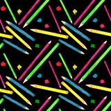 Seamless pattern made of watercolor painted school accessories on black background. stock illustration