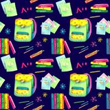 Seamless pattern made of watercolor painted school accessories on dark blue background. stock illustration