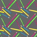 Seamless pattern made of watercolor painted school accessories on neutral background. vector illustration
