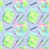 Seamless pattern made of watercolor painted school accessories on purple background. vector illustration