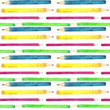 Seamless pattern made of watercolor painted school accessories on white background. stock illustration