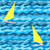 Seamless pattern made of waves and yachts Royalty Free Stock Photography