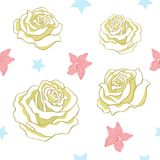 Seamless pattern made of  white roses Stock Photography