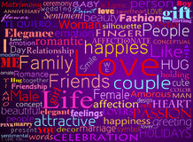 Seamless pattern made from words which relate. With word love Stock Photos