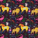 Seamless pattern with magic animals among plants and butterflies royalty free illustration