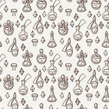 Seamless pattern with magic glass flasks. Science potions doodle style sketch. Royalty Free Stock Image