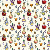 Seamless pattern with magic glass flasks. Science potions doodle style sketch. Stock Photo
